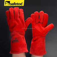 Red leather welding gloves with CE certificate FL-1023