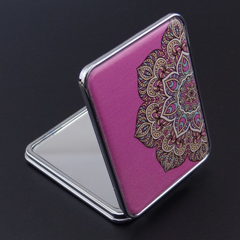 Square Shaped Fashion Beauty Cosmetic Mini Pocket Folding Portable Makeup Leather Cover Compact Metal Hand jeweled Mirror