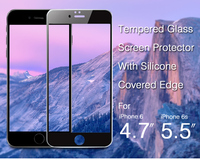 2015 high quality 2.5D bent tempered glass screen protector for iphone6 with silicone surround edge
