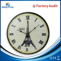 Wooden eiffel tower antique wall clock with hours 24 hour dial