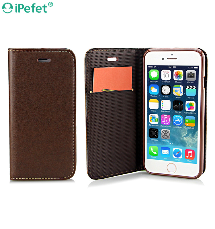 Fashionable real leather flip phone case for iPhone 7 wallet card holder