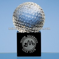 Noble Custom Made Optical Crystal Golf Ball on Onyx Black Optic Base