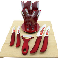 Beauty Gifts Brand High Quality 6PCS Kinds Of Kitchen Knives Ceramic Multi Tool Knife Set 3--6inch+Ceramic Peeler+Acrylic Holder