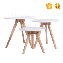 Latest alibaba white wood round coffee table set