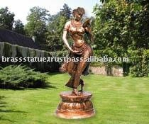 Dancing Lady with mirror Brass statue figurines