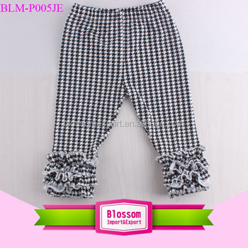 New design toddler boutique icings ruffle pants kids girls triple ruffle leggings houndstooth icings leggings girls