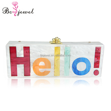 New Factory Customize Fashion Handmade Colorful Letter Print Acrylic Clutch Evening Bags for Women Wedding Party Handbag