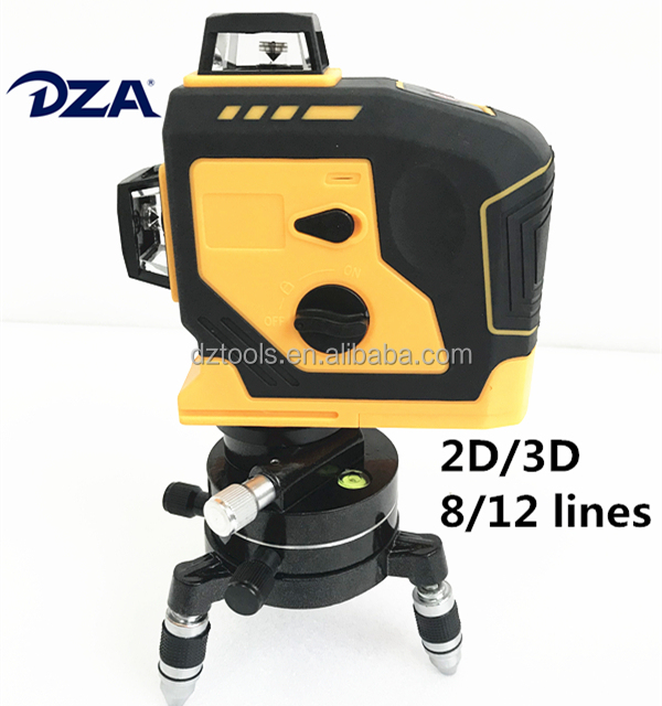 DZA 2D/3D Red Light Multi 360 Line Outdoor Visible 12 lines Laser Level