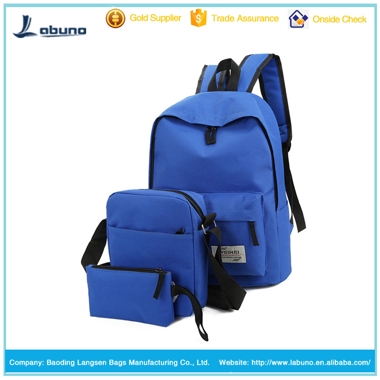 OEM leisure canvas backpack bags set with printing own logo