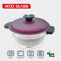 10 cup hot sale pyrex glass pot with color PP cover and silicone handle