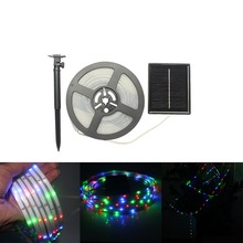 Outdoor IP68 CE 5M 100leds SMD2835 RGB Flexible Solar Powered Led Strip Light