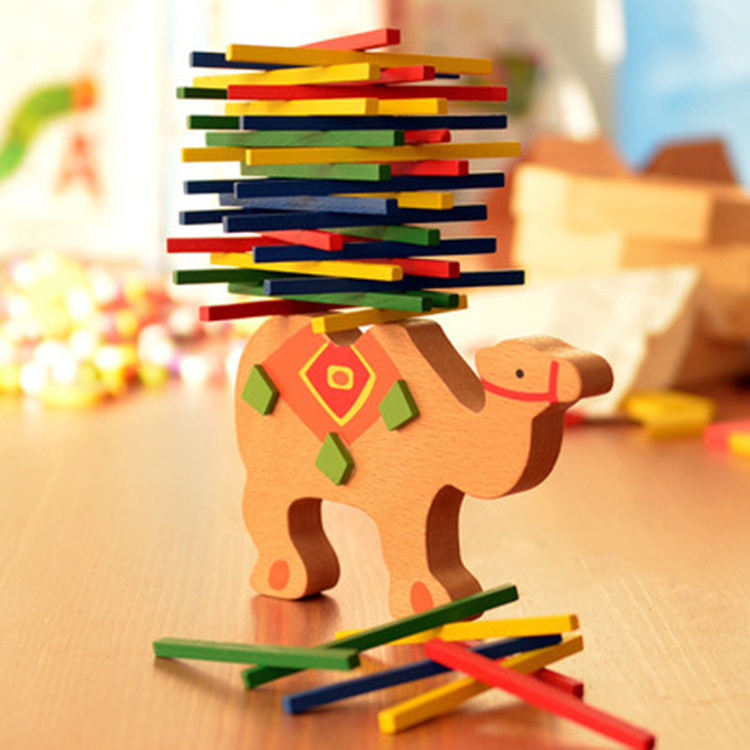 Kids Intelligence Educational Toys Wooden Colorful Pick Up Elephant Color Stick Balance Beam Stacks