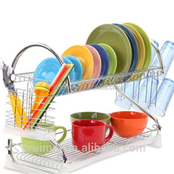 2-Tier Table-top Metal Kitchen Plate Rack kitchen cabinet and pantry organizer rack