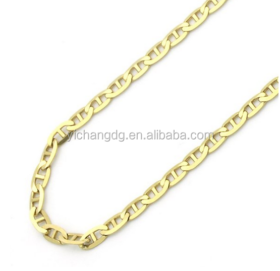 14K Gold 2mm Italian Flat Mariner Link Chain Necklaces Women Man Chain Necklace