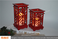 Holiday decoration LED Christmas snow light wooden lantern