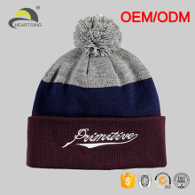 Cheap Fold Up Custom Pom Pom Winter Men's Beanie Hat With Embroidery Jacquard Logo