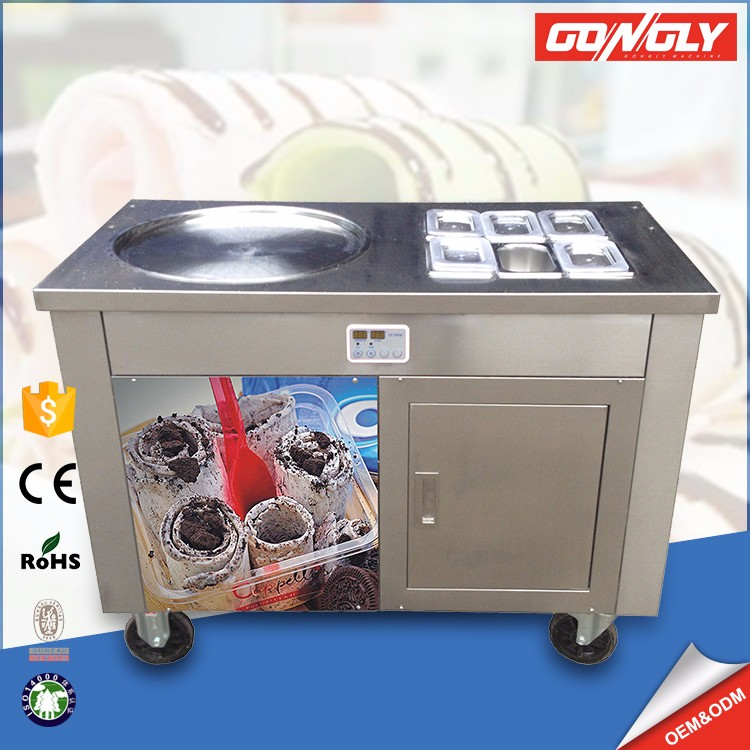 Commercial Fast freezing 6 fruit containers ice cream cold plate machine with USA standard