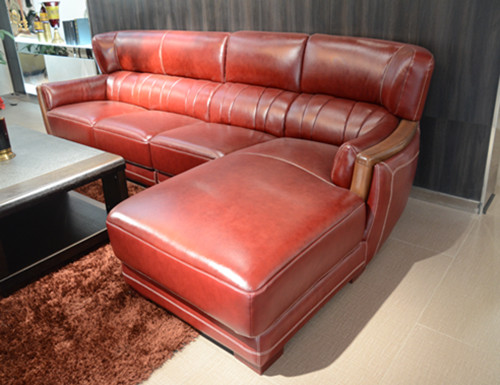 modern genuine sectional red sofa couches for sale AA256