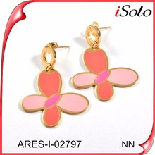 Multi-color butterful drop gold plated fashion earrings