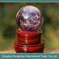 Crystal Allies Gallery: Natural Purple Amethyst Ball Sphere w/ Authentic Crystal Allies Stone Card