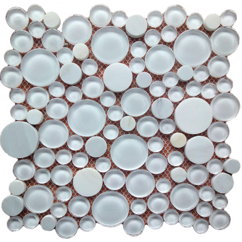 Milk White Stone Mix Glass Pebbles Mosaic Tiles Round Pebble Mosaic ...