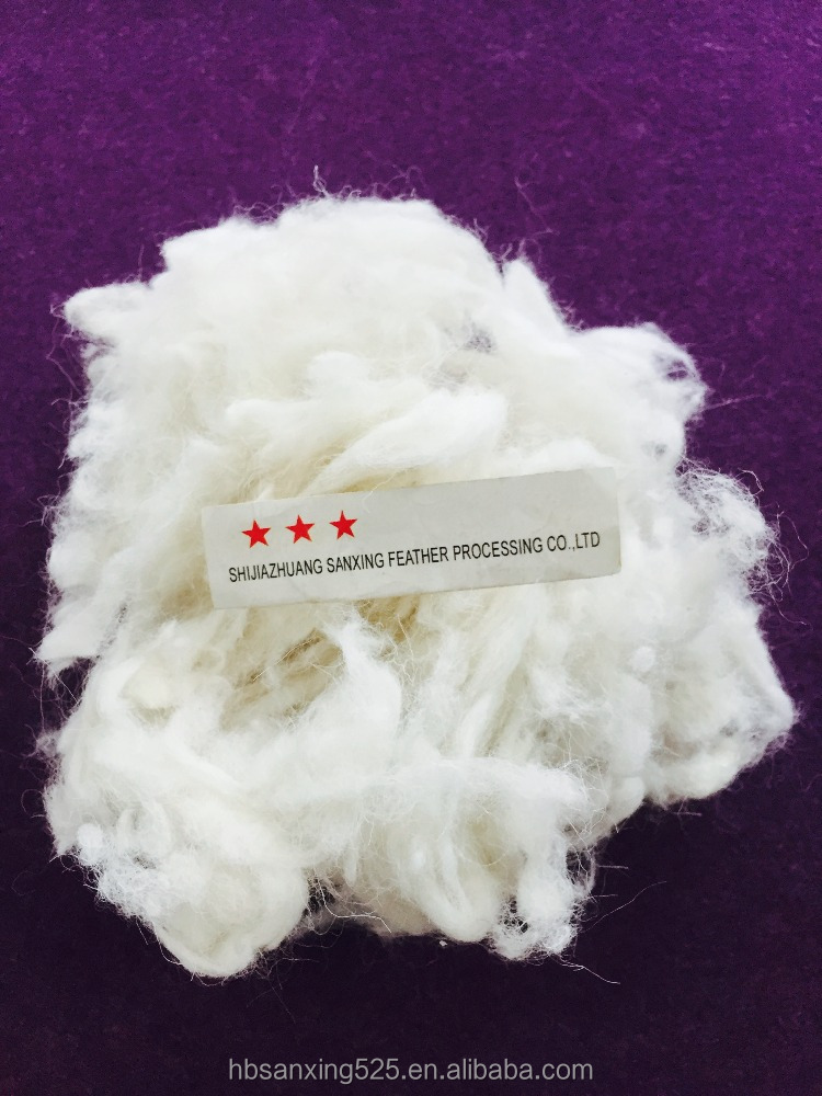fine sheep woolwaste 27mic & 30-50mm, natural white color