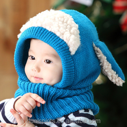 Cute Animal Baby Winter Hat super soft wool shawl collar child dog baby hat cloak cloak warm knitted hat