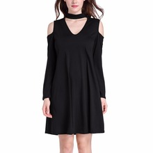 Latest Women Design Deep V Neck Tie Sleeve Shift Choker Mini Casual Dress