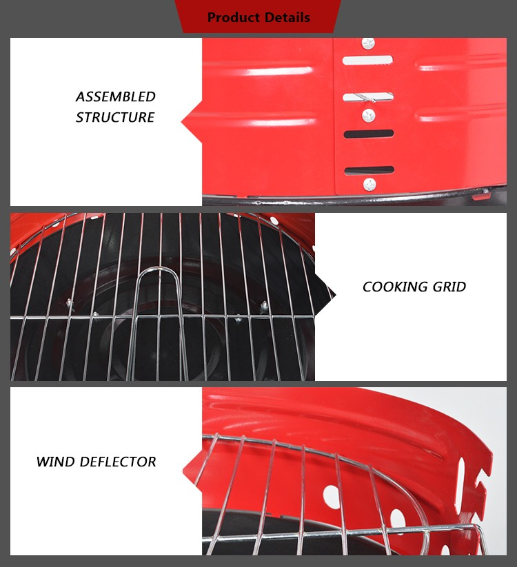 Hotlink KY23013SH Portable Simple Charcoal Grill With Wind Deflector