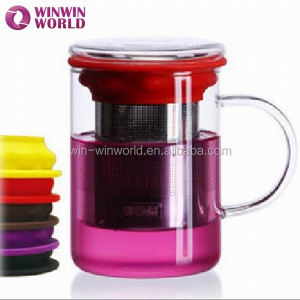 Eco Friendly Product Promotional Gift Clear Infuser Glass Tea Filter Cup