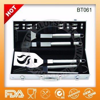 Hot sell 14 Piece BBQ Grill Set with Aluminium Case FDA and LFGB