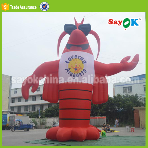 Red crawfish toy with logo giant inflatable lobster cartoon for sale inflatable shrimp for advertising