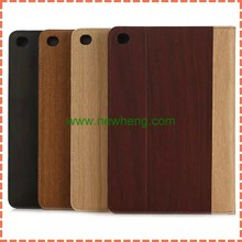 New arrvial Wood Grain Style pu leather stand wallet case for iPad Mini 4