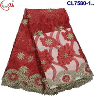 CL7580 New design elegant flower pattern for women embroidery lace fabric with stone