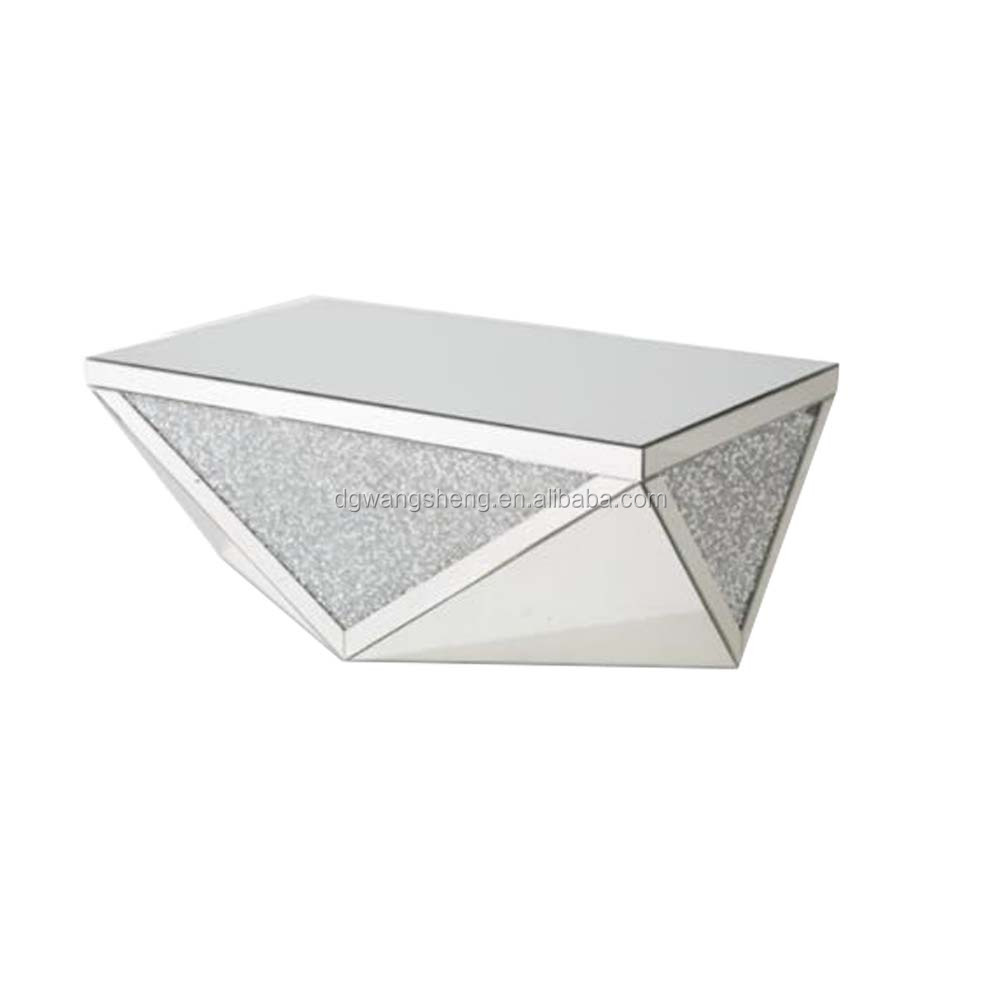 Irregular Shape Diamond Crystal Mirror Glass Coffee Table
