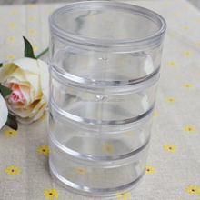High Quality Clear Plastic Round Cylinder Jewellery Beads Storage Organizer Box Acrylic Jewelry Display Container with 5 Layers