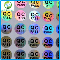 Good quality laser hologram small size QC pass label sticker