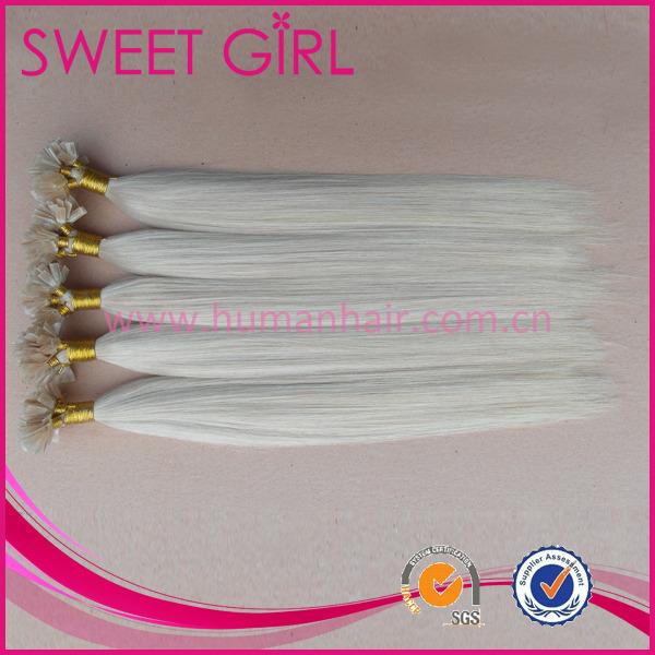 Color 1001 White Blonde Flat Tip Italian Keratin Virgin Human Hair