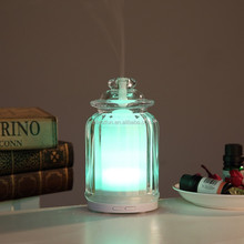 Mini USB glass aroma diffusers ultrasonic,electric essential oil diffuser with 7color changing LED GH2136