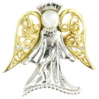 3D angel golden silver wholesale christian lapel pins with peal