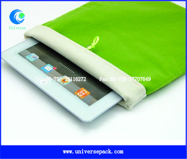 With Button Closure Laptop Velvet Pouch Green Wholesale Popular Bags Export