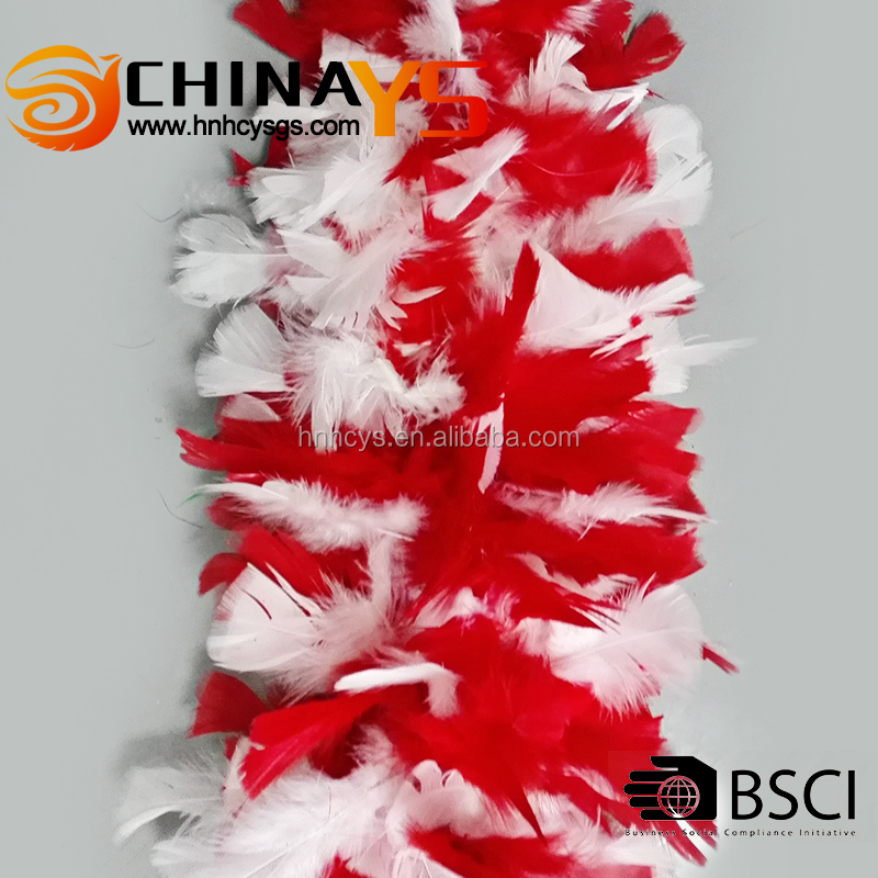 BSCI factory audit Red white fashionable mix color natural feather boa 1.8meters 50grams hot selling