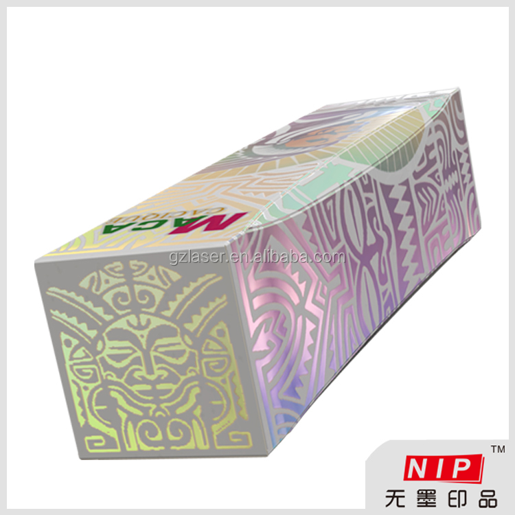 Custom folding hologram paper packing boxes with no ink printing