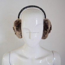 SJ774 Natural Color Genuine Rex Rabbit Fur Earmuff