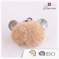 lovely fake fox fur pompom animal ear key ring accessories, faux fur plush ball keychain