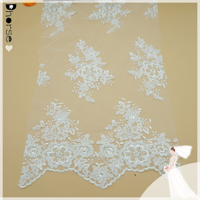 2015 Hot sell white indian bridal lace fabric wholesale-DH-BF692