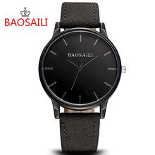 Hot Selling BAOSAILI Brand Watch Simple Design Alloy Case Leather Strap Attractive Unisex Watch Big Dial Quartz Waterproof Watch