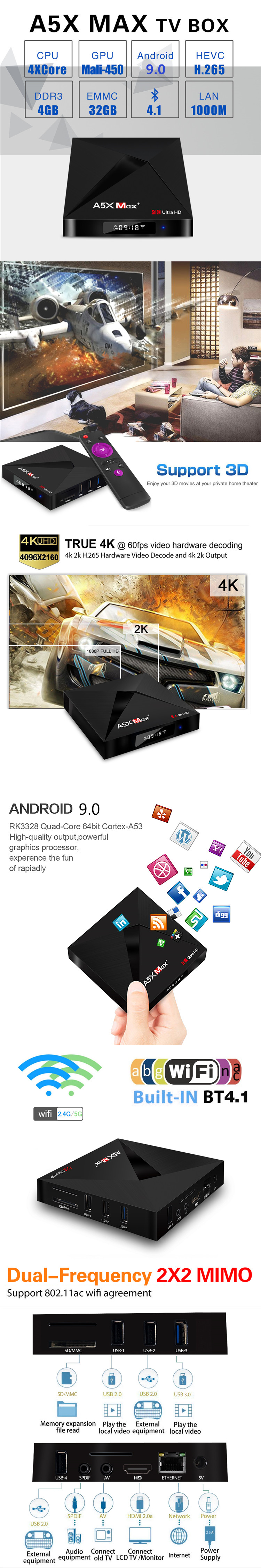 A5X MAX+ mashmallow 4G 32G 4k octa core tv box DVB-S2/T2/Cable/ISD BT 4.1 RK3328 android tv box with Android 9.0 keyboard