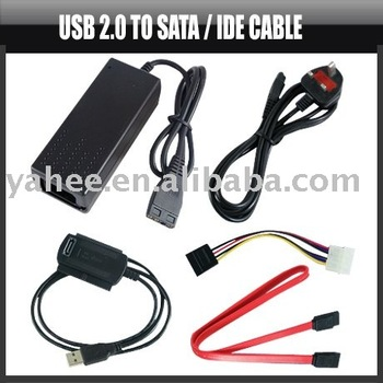 USB 2.0 to Sata/IDE Cable for HDD W/Power Adapter,YHA-PC049