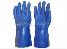Blue sandy finish resistant alkali and acid PVC work glove